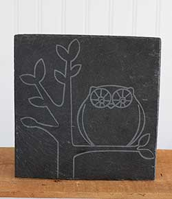 Perched Owl Etched Slate Trivet