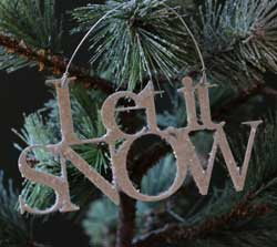 Let it Snow Glitter Ornament - White