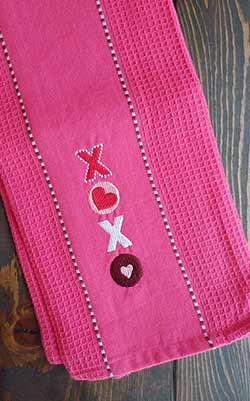 XOXO Embroidered Kitchen Towel