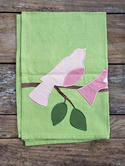 Bird Trio Applique Dishtowel