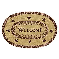 Burgundy and Tan Jute Rug with Stars - Welcome