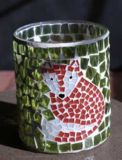 Foxy Fall Mosaic Glass Votive