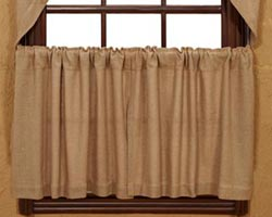 Burlap Cafe Curtains - 24 inch Tiers