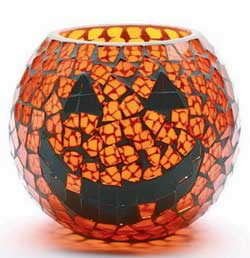 Pumpkin Mosaic Glass Hurricane