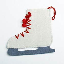 Ice Skate Felt Ornament or Flatware Holder
