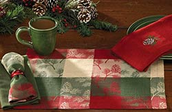Holiday Pinecone Tablerunner, 54 inch