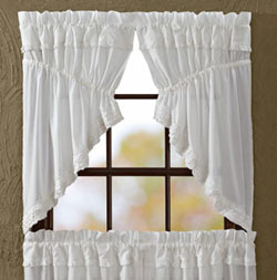 White Ruffled Sheer Prairie Swag (36 inch)