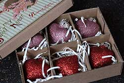 Glittered Heart Ornaments In Box