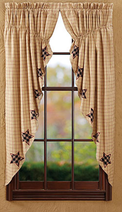 Bingham Star Prairie Curtain with Applique Star (Red and Tan)