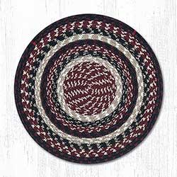 Burgundy, Black, & Tan Braided Chair Pad