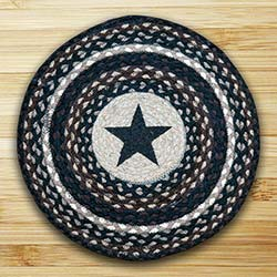 Black Star Braided Jute Chair Pad