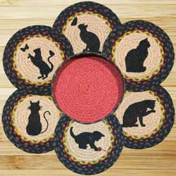 Cats Braided Jute Trivet Set