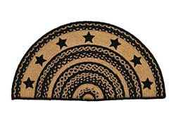 Farmhouse Jute Half Circle Rug - with Stars