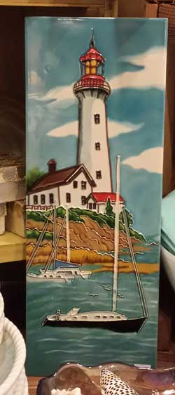 Lighthouse by the Beach Art Tile