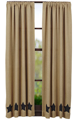 Burlap Black Star Panels (63 inch)