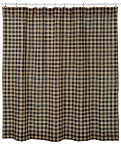 Burlap Black Check Shower Curtain (Black and Tan)