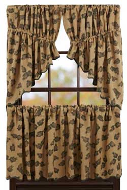 Pine Cone Cafe Curtains - 24 inch Tiers
