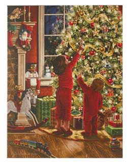 Children Decorating Tree Lighted Print