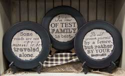Family Distressed Plates (Set of 3)