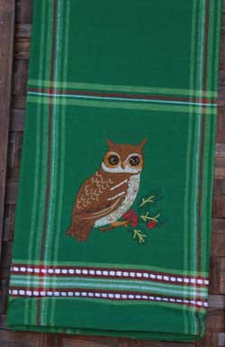 Woodland Owl Embroidered Tea Towel