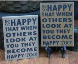 Be So Happy Wall Plaque - Oatmeal or Mustard