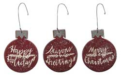 Red Bulb Ornaments (Set of 3)