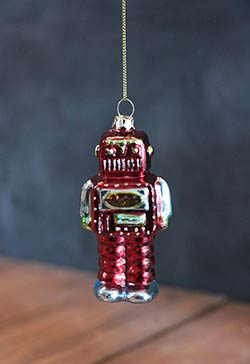 Robot Ornament - Red