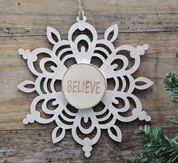 Snowflake Wood Slice Ornament - Believe