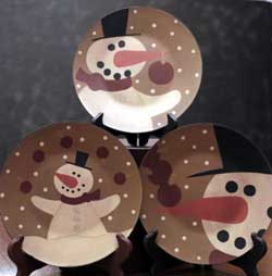 Snowman and Bulbs Plates (Set of 3)