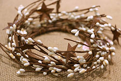 Cream Primitive Berry Candle Ring / Wreath with Rusty Stars