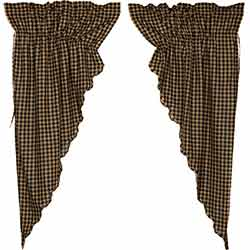 Black Check Prairie Curtain - 63 inch (Black and Tan)