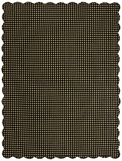 Black Check Tablecloth, Scalloped - 60 x 80 (Black and Tan)