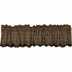 Black Check Valance - Layered (Black and Tan)