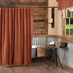 Burgundy Check Shower Curtain