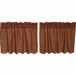 Burgundy Check Cafe Curtains - 24 inch Tiers
