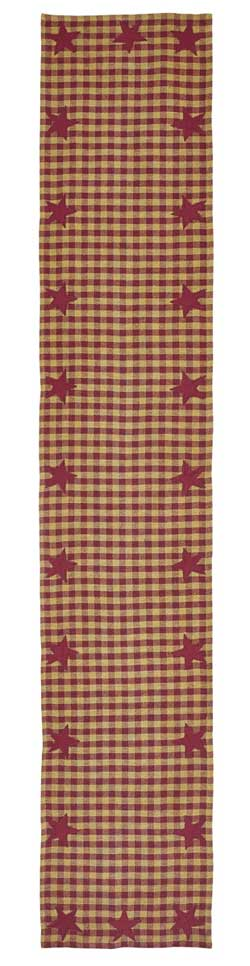 Burgundy Star Table Runner - 72 inch