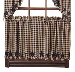 Navy Star Cafe Curtains - 24 inch Tiers