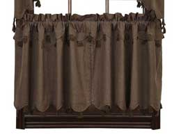 Carrington Brown Cafe Curtains - 24 inch Tiers