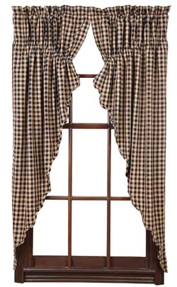 Navy Check Prairie Curtain (63 inch)