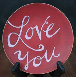 Love You Hand Painted Decorative Plate