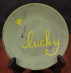 Lucky with Shamrock Hand Painted Plate