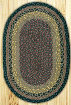 Brown, Black, and Charcoal Oval Jute Rug - 20 x 30 inch