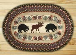 Black Bear & Moose Braided Jute Rug