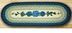 Blue Hydrangea Braided Jute Table Runner, 36 inch