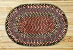 Burgundy, Blue, and Grey Oval Jute Rug - 27 x 45 inch