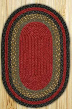 Burgundy, Olive, and Charcoal Oval Jute Rug - 27 x 45 inch