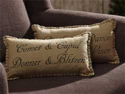 Prancer Pillows (Set of 2) - Reindeer Names