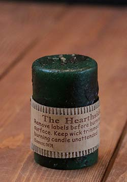 Primitive Green Pillar Candle - 2 x 3 inch
