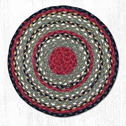 Burgundy, Olive, and Charcoal Braided Jute Chair Pad