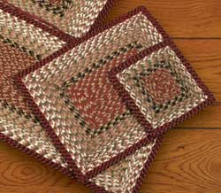 Burgundy and Mustard Cotton Braid Placemat - Rectangle
